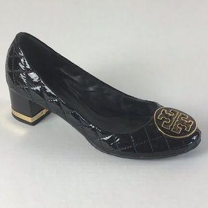 Tory Burch Maggie Quilted  Logo Block Heel Pump
